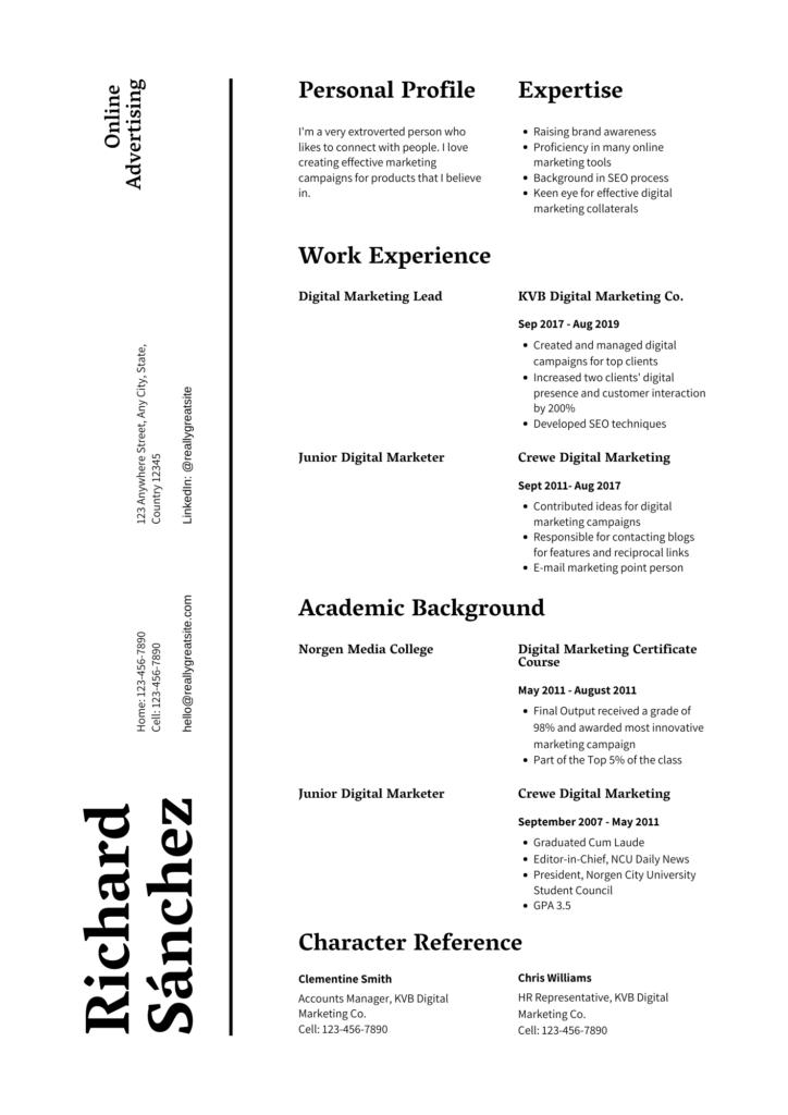 best resume for digital marketing fresher